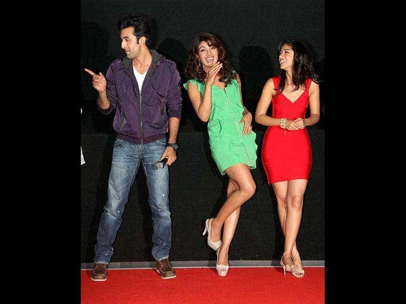 Ranbir, Priyanka and Ileana laugh over a joke during the promo release of Barfi.
