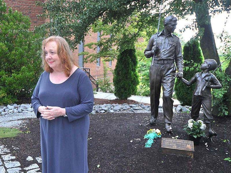 Actress Betty Lynn, who played Thelma Lou on 'The Andy Griffith Show', pays her respects at the Andy Griffith statue in Mt Airy, NC. Griffith died Tuesday at age 86 at his home in Manteo, NC. AP Photo/The Charlotte Observer, Todd Sumlin