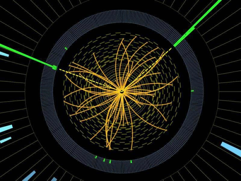 An undated handout graphic distributed on by CERN in Geneva shows a representation of traces of traces of a proton-proton collision measured in the Compact Muon Solenoid (CMS) experience in the search for the Higgs boson. Physicists have found a new sub-atomic particle in their search for the Higgs boson, a top CERN scientist said. AFP photo