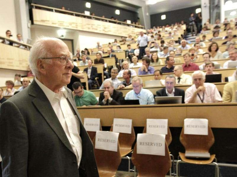 British physicist Peter Higgs arrives for a scientific seminar to deliver the latest update in the search for the Higgs boson at CERN in Meyrin near Geneva. Reuters photo/Denis Balibouse