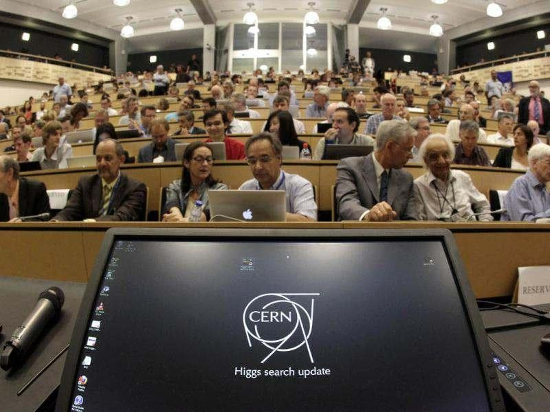 A computer screen is pictured before a scientific seminar to deliver the latest update in the search for the Higgs boson at CERN in Meyrin, near Geneva. Reuters photo/Denis Balibouse