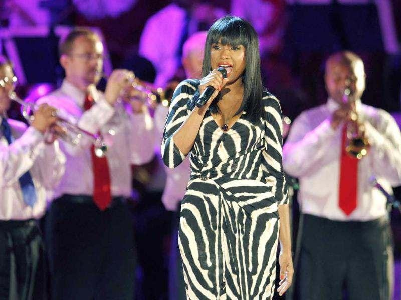 Jennifer Hudson performs during the Boston Pops Fourth of July concert rehearsal at the Hatch Shell on the Esplanade in Boston. (AP Photo/Michael Dwyer)