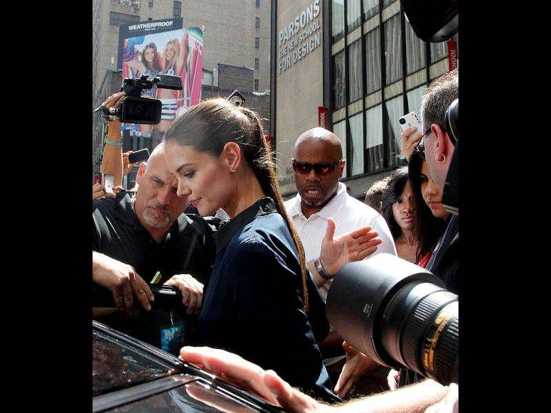 US actress Katie Holmes leaves a TV studio on Times Square in New York.