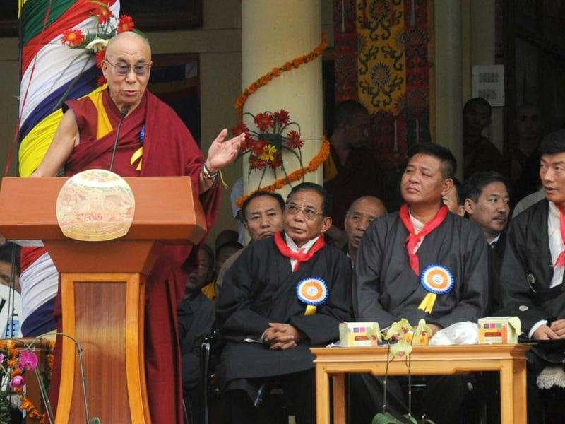 Tibetan spiritual leader The Dalai Lama delivers an address as exile Tibetan Prime Minister Lobsang Sangay (R) and Speaker of the Tibetan Parliament-in-exile Penpa Tsering look on during his 77th birthday celebrations at the Tsuglakhang Temple in McLeod Ganj, Dharamsala. (AFP Photo)