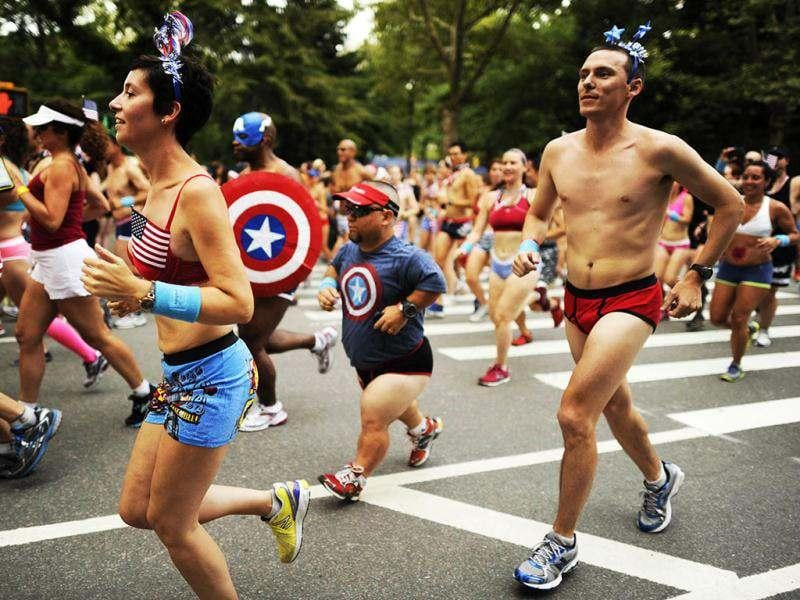 Approximately 500 triathletes after the start of a 1.7 mile run through Central Park July in their briefs as part of the