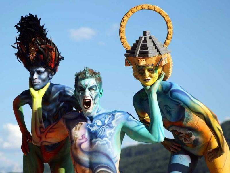 Models pose during the annual World Bodypainting Festival in Poertschach. Reuters/Heinz-Peter Bader