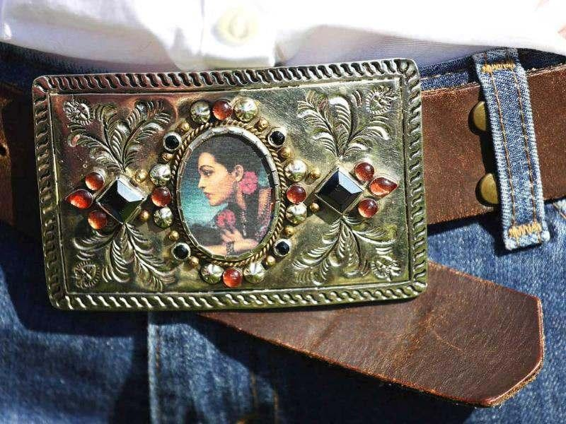 An art fashion Frida Kahlo belt buckle to go with a traditional western outfit worn during the 100th anniversary of the Calgary Stampede. Reuters/Todd Korol