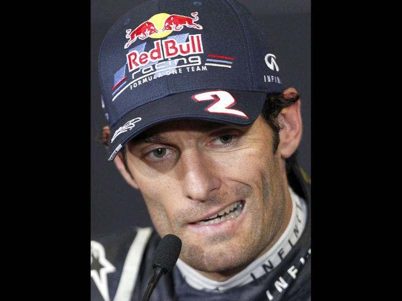 Red Bull Formula One driver Mark Webber of Australia speaks during a news conference after winning the British F1 Grand Prix at Silverstone. Reuters/Chris Helgren