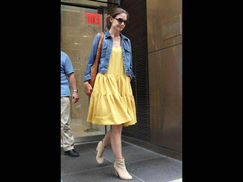 US actress Katie Holmes was recently spotted leaving her lawyer's office in New York City July 7, 2012.