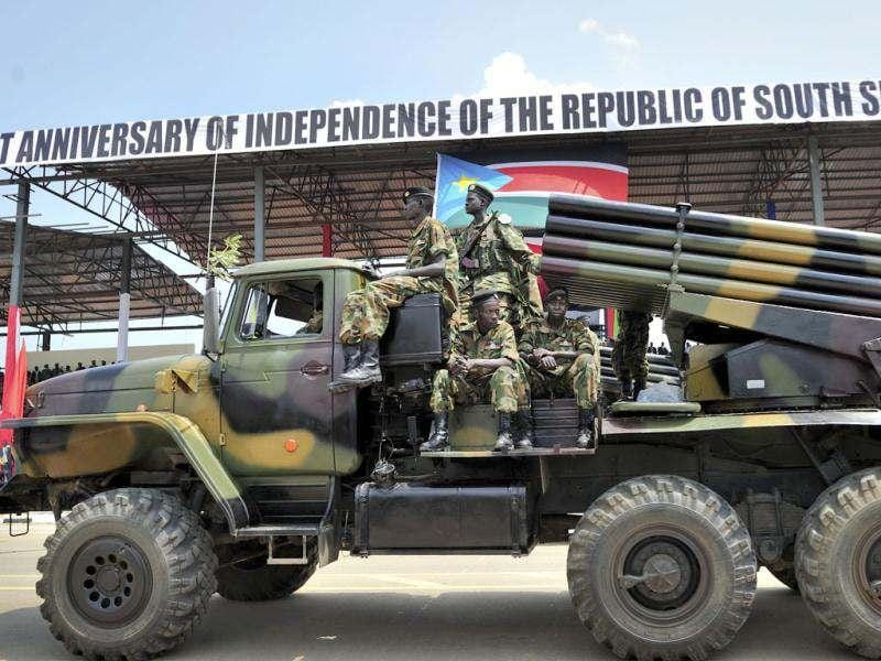 South Sudan's military parade at the country's anniversary celebrations, at the John Garang mausoleum in Juba. AP Photo/Shannon Jensen