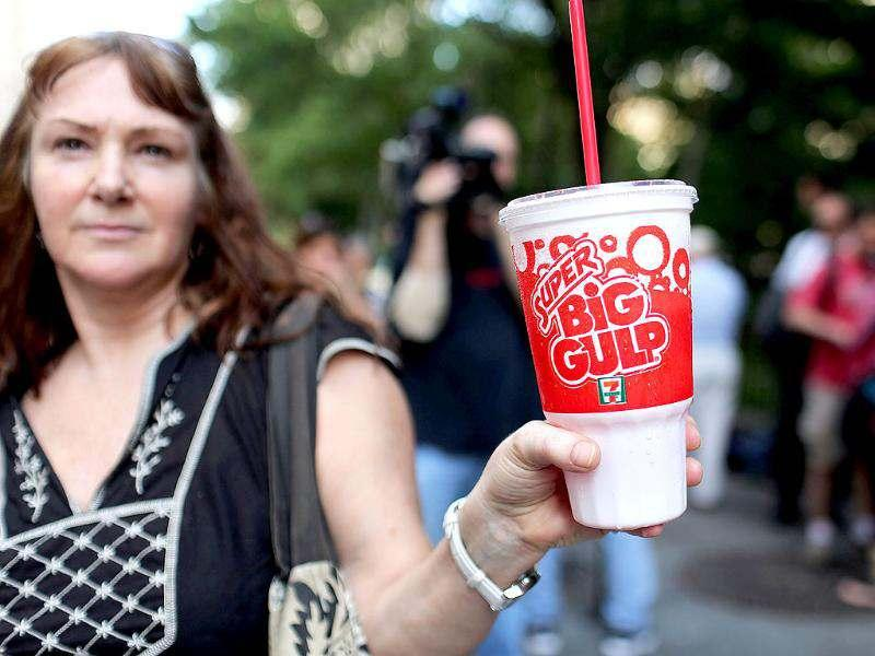 Andrea Herbert attends a protest billed as the Million Big Gulp March in lower Manhattan which is opposed to mayor Michael R Bloomberg's proposal to prohibit licensed food service establishments from using containers larger than 16 ounces in New York City. AFP/Spencer Platt