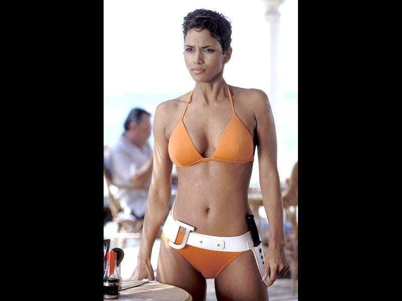 Halle BerryBond girl Jinx (Halle Berry) wore an orange replica of the iconic Ursula Andress bikini for her first encounter with James Bond in Die Another Day.