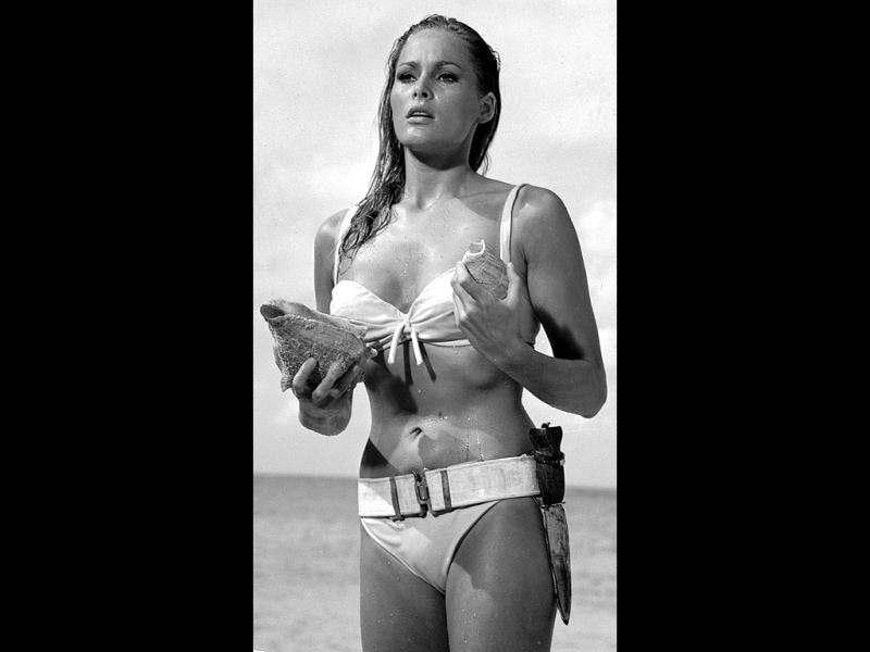 Ursula AndressWhen Honey (played by Ursula Andress) emerged from the sea in her white bikini in Dr. No, she heralded a new wave of athletic-looking movie stars, which provided a contrast to the voluptuous actresses of the 1950s.
