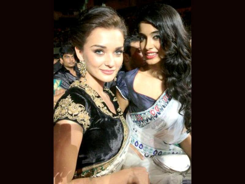 Amy Jackson and Sarah Jane Dias posed for the cameras at the event.