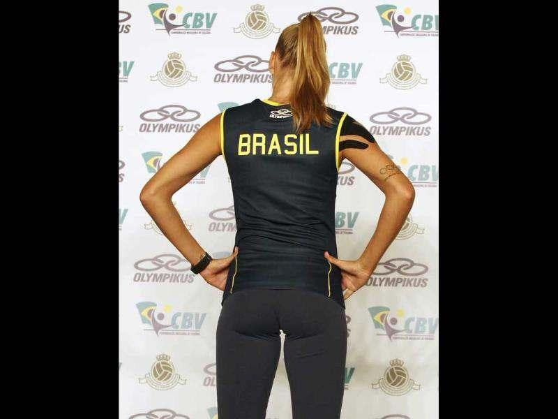 Brazil's volleyball player Marianne Steinbrecher presents the new national team uniform for the London 2012 Olympic Games at Brazilian Volleyball Federation's training centre in Saquarema, in Rio de Janeiro. (Reuters/Sergio Moraes)