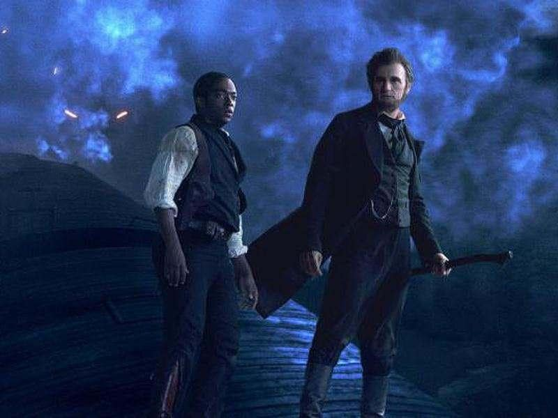 Abraham Lincoln (Benjamin Walker, right) and friend Will Johnson (Anthony Mackie) make their final stand atop a speeding train.