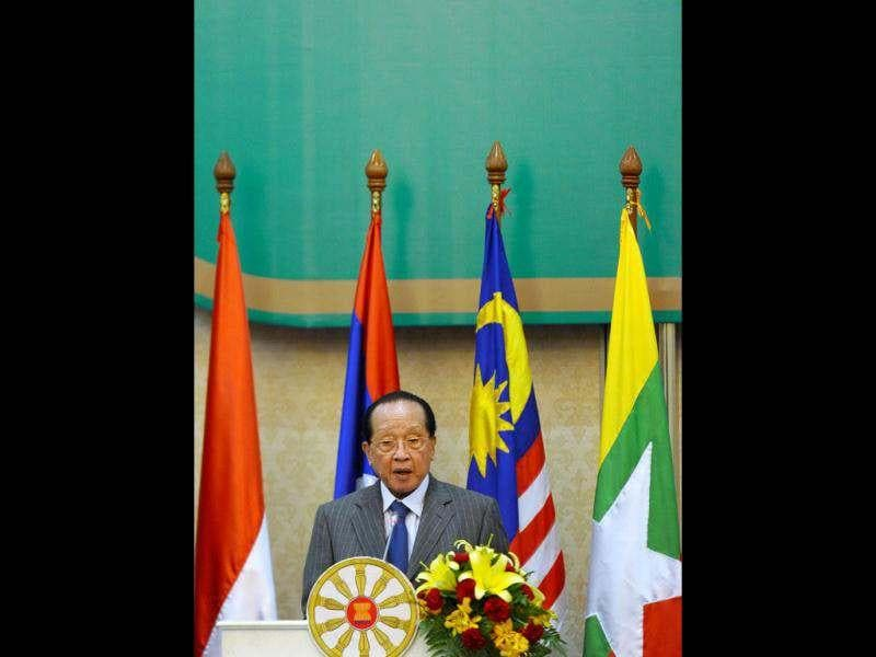 Cambodian foreign minister Hor Namhong speaks during the closing ceremony of the 45th Annual Ministerial Meeting of the Association of Southeast Asian Nations (ASEAN) in Phnom Penh. AFP/Hoang Dinh Nam