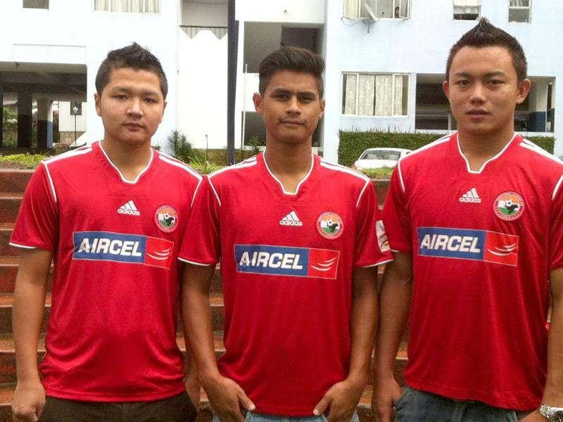 Shillong Lajong Football Club players Lalramluaha, Eugeneson Lyngdoh and Lalthuammawia Ralte (L-R) to undergo training with the Danish club FCV Vikings.