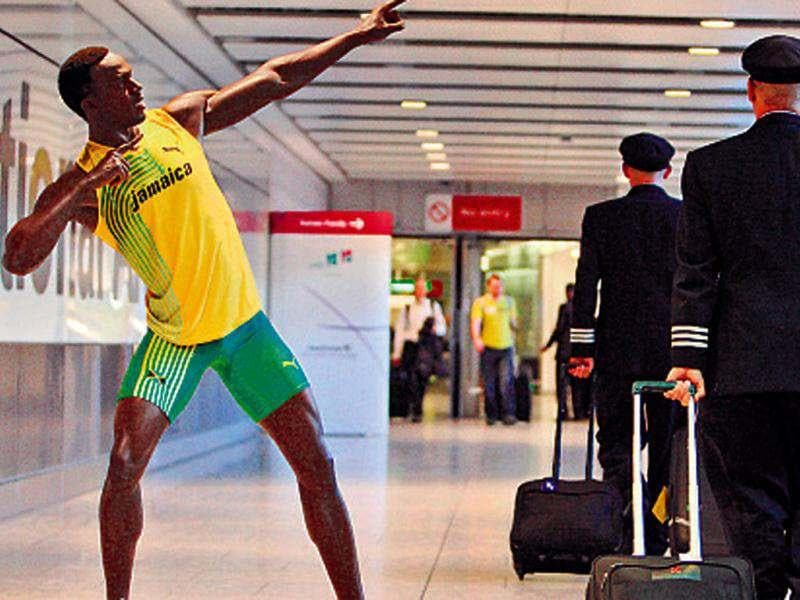 A waxwork of the reigning Olympic sprint champion Usain Bolt at Heathrow airport.