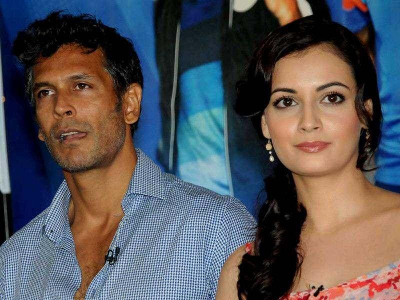 Milind Soman and Dia Mirza onstage at the event.
