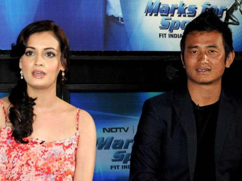 Dia Mirza and Baichung Bhutia at the launch of Marks For Sports.