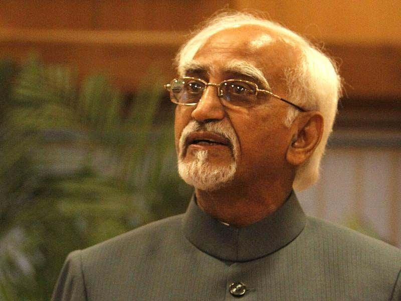 Vice president Hamid Ansari talks to the media after his name was announced as UPA's vice-presidential candidate, in New Delhi. HT/Sunil Saxena