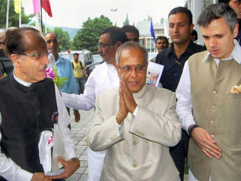UPA presidential candidate Pranab Mukherjee being received by Chief Minister of Jammu and Kashmir Omar Abdullah and State Congress president Saifuddin Soz during his arrival in Srinagar on Sunday. PTI