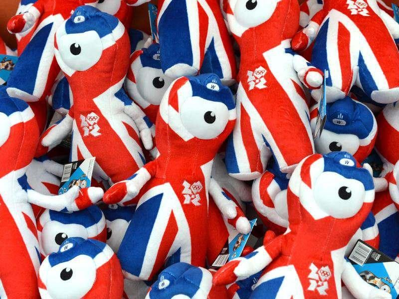 London 2012 Olympic mascots are displayed at the largest pop-up store in Hyde Park. AFP/Miguel Medina