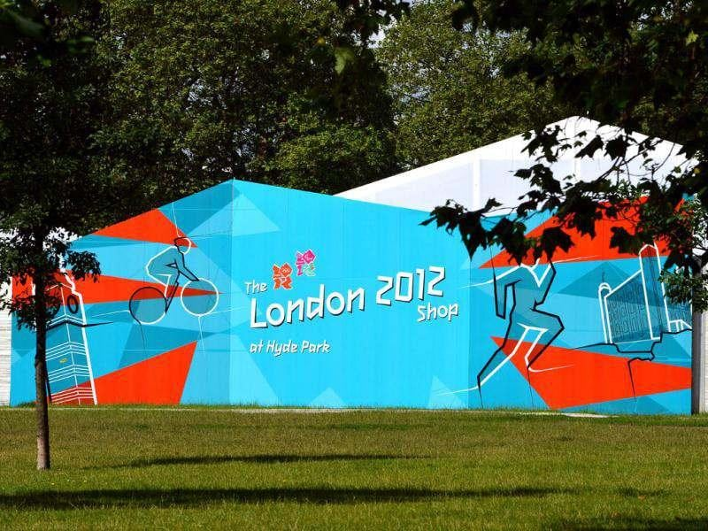 The largest pop-up store in Hyde Park, London is pictured, as Britain prepares to celebrate the Olympic Games. AFP/Miguel Medina