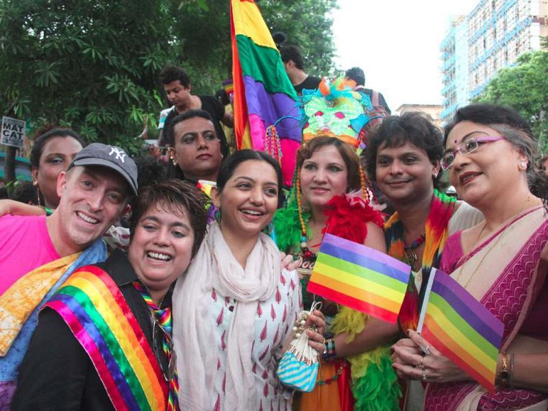 The BJP has been less than enthusiastic in its position on gay rights, speaking in multiple voices. This is a photograph from a lesbian, gay and transgender pride walk in Kolkata.(Ramkrishna Samanta/HT File photo)