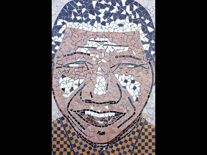 A close up photo of a mosaic mural portraying former South African President Nelson Mandela forming part of their exhibition at the Nelson Mandela Museum in Qunu, South Africa. South Africans will celebrate former president Nelson Mandela birthday today. AP Photo/Schalk van Zuydam