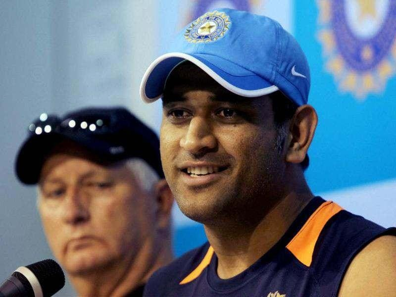 Team India skipper MS Dhoni and coach Duncan Fletcher interact with the media in Chennai ahead of the team's Sri Lanka tour. PTI/R Senthil Kumar