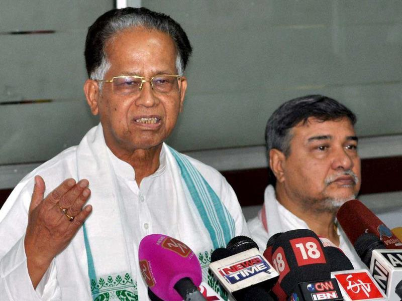 Assam chief minister Tarun Gogoi with APCC president Bhubaneswar Kalita addressing a press conference regarding the alleged molestation of a teenage girl last week, in Guwahati. PTI photo