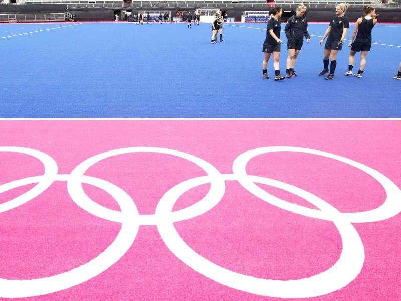 The New Zealand women's hockey team warm down after a training session at the Olympic Hockey venue, the Riverbank Arena, at the Olympic Park in Stratford, east London. Reuters/Andrew Winning