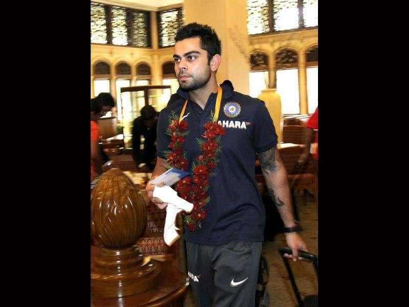 Virat Kohli arrives in Colombo. AP/Gemunu Amarasinghe