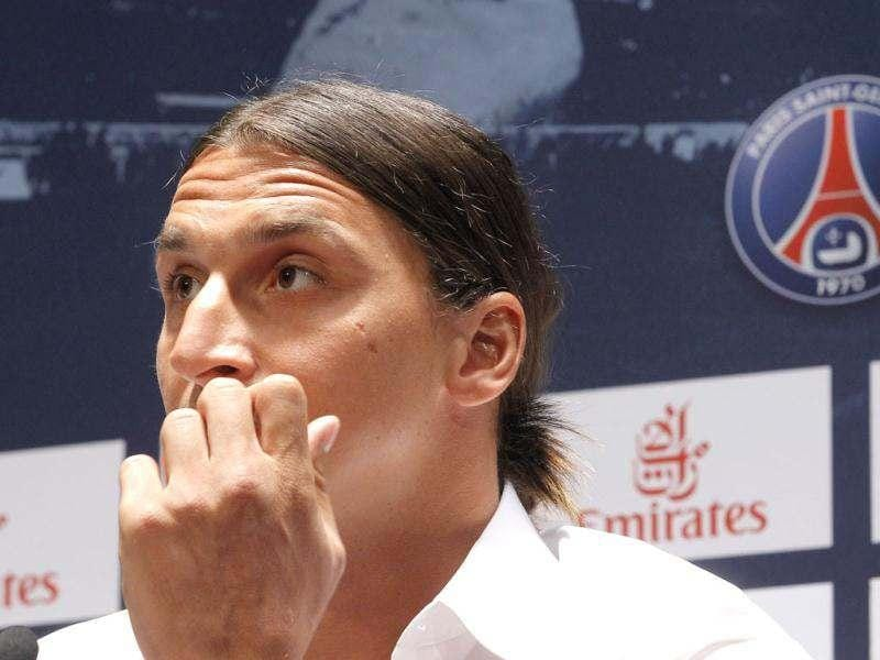 AC Milan striker Zlatan Ibrahimovic, of Sweden, seen during a press conference at the Parc des Princes stadium in Paris after signing an agreement with the Paris Saint Germain (PSG) club. AP/Jacques Brinon