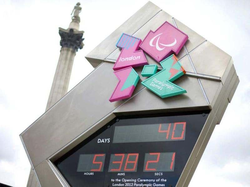 The Olympic countdown clock is seen at Trafalgar Square in London. Reuters/Neil Hall