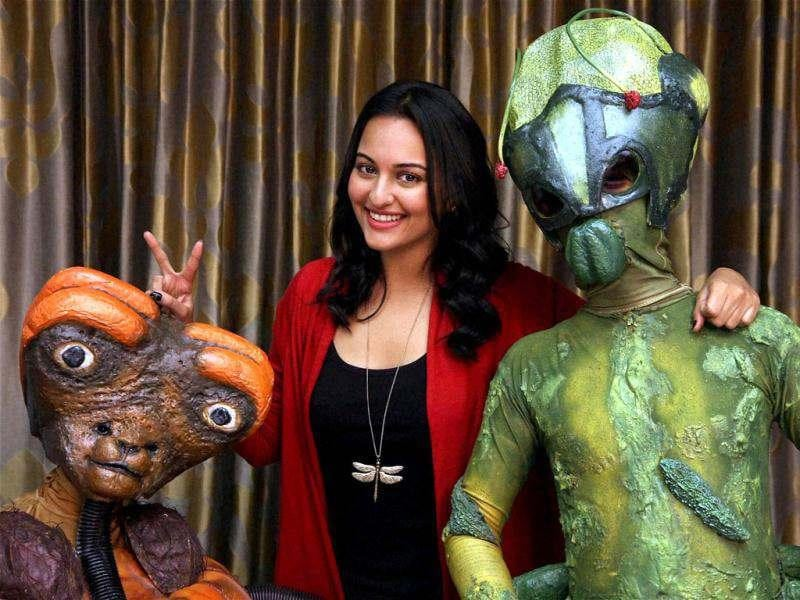 Sonakshi Sinha went solo to promote her upcoming film Joker in Mumbai. But then Sonakshi was not alone. Accompanying her were the cute aliens.