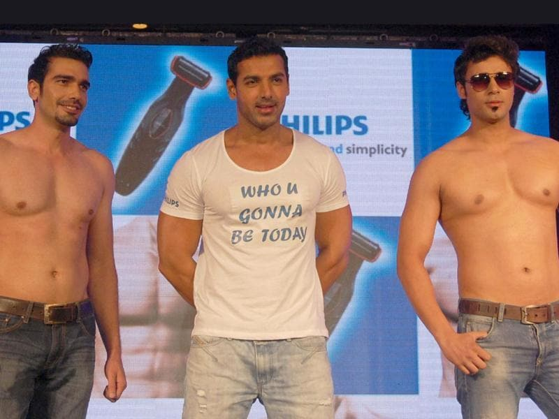 Bollywood actor and Philips brand ambassador John Abraham during the launch of Indian men's bodygrooming kit in New Delhi.