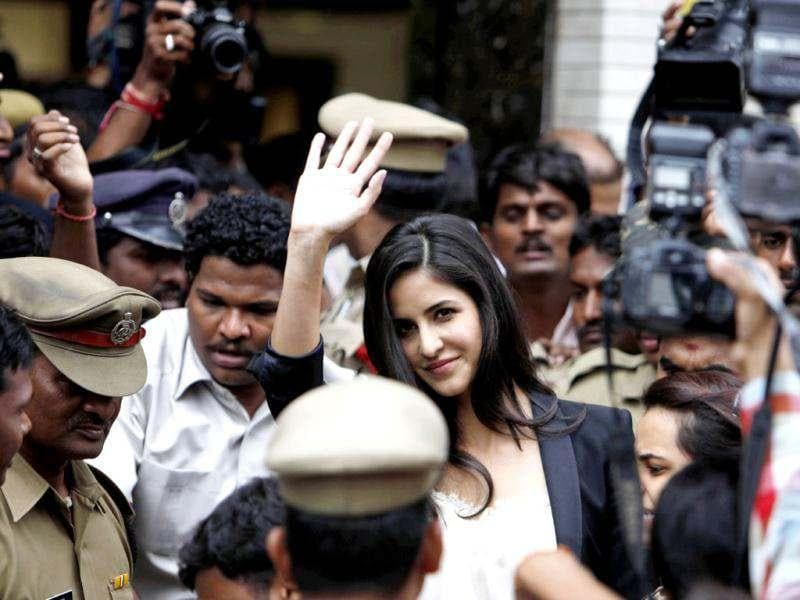 Bollywood actress Katrina Kaif leaves after inaugurating a jewellery show room in Hyderabad.