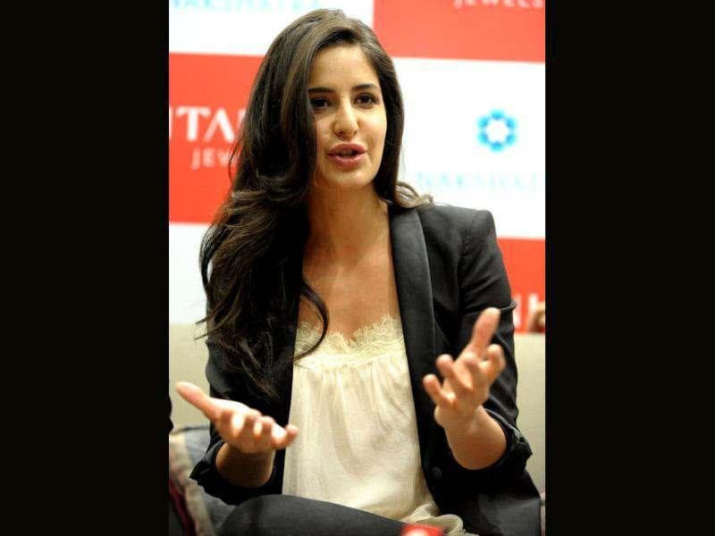 Bollywood actor Katrina Kaif animatedly answers a question at the inaugration ceremony.
