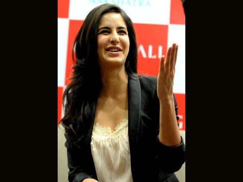 Katrina Kaif shares a hearty laugh during addressing the media at the inaugration of a jewellery showroom.