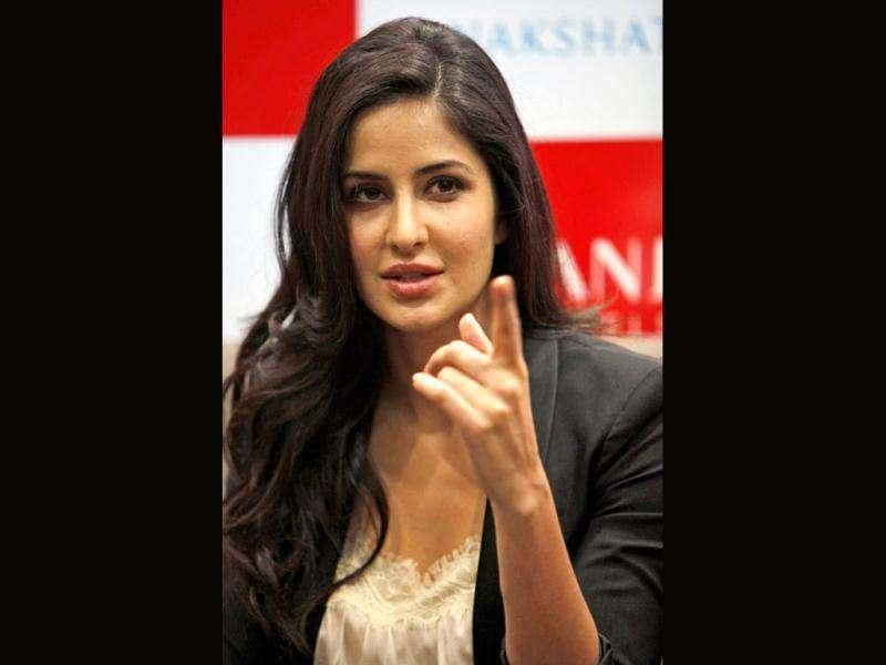 Bollywood actress Katrina Kaif addresses the media after inaugurating a jewellery show room in Hyderabad.
