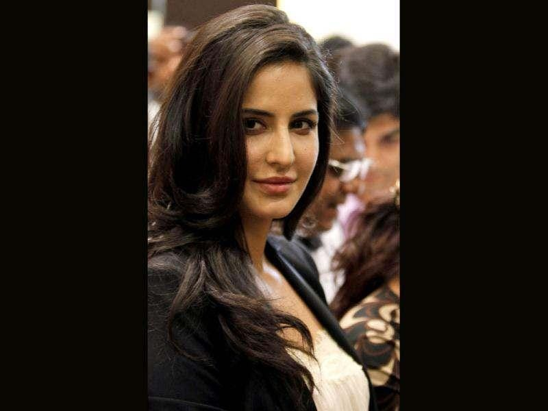 Bollywood actress Katrina Kaif greets the crowd after inaugurating a jewellery show room in Hyderabad.