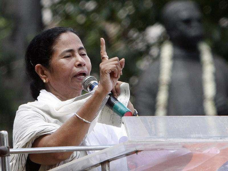 TMC Supremo Mamata Banerjee is addressing the Martyr's Day rally of at Esplanade, in Kolkata, India. HT/Subhendu Ghosh