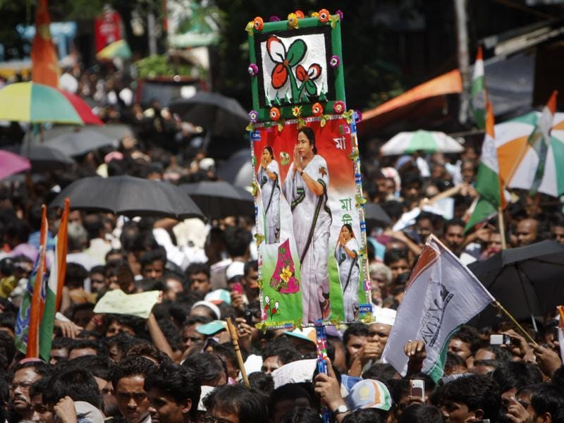 Massive crowd with posters and cutouts eagerly listening TMC Supremo Mamata Banerjee during their Martyr's Day rally at Esplanade, in Kolkata, India. HT/Subhendu Ghosh