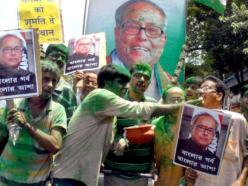 Congress supporters celebrate the victory of UPA Presidential candidate Pranab Mukherjee as President of India, ahead of the formal declaration, in Kolkata. PTI photo