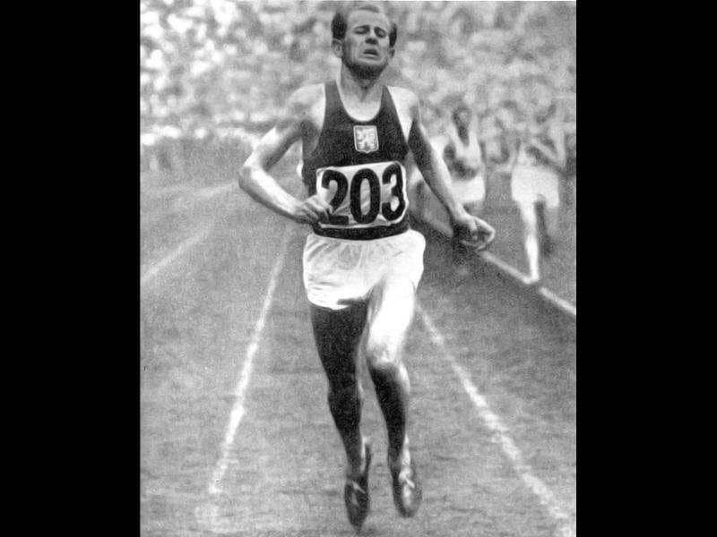 Emil Zatopek, the Czech long distance runner who was the only athlete to ever win three gold medals in a single Olympic Games at Helsinki in 1952, is shown in this file photo from the 1948 Olympic Games in London winning the gold in the 10km run. Reuters photo