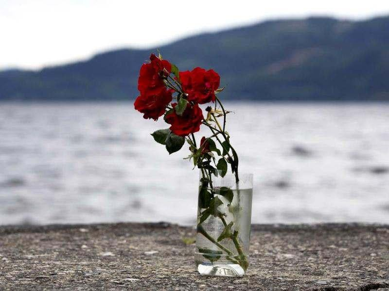 Flowers in a vase are pictured on the shores of Utoeya Island during an event to mark the first anniversary of the attacks by right-wing extremist Anders Behring Breivik.(AFP/ Daniel Sannum Lauten)