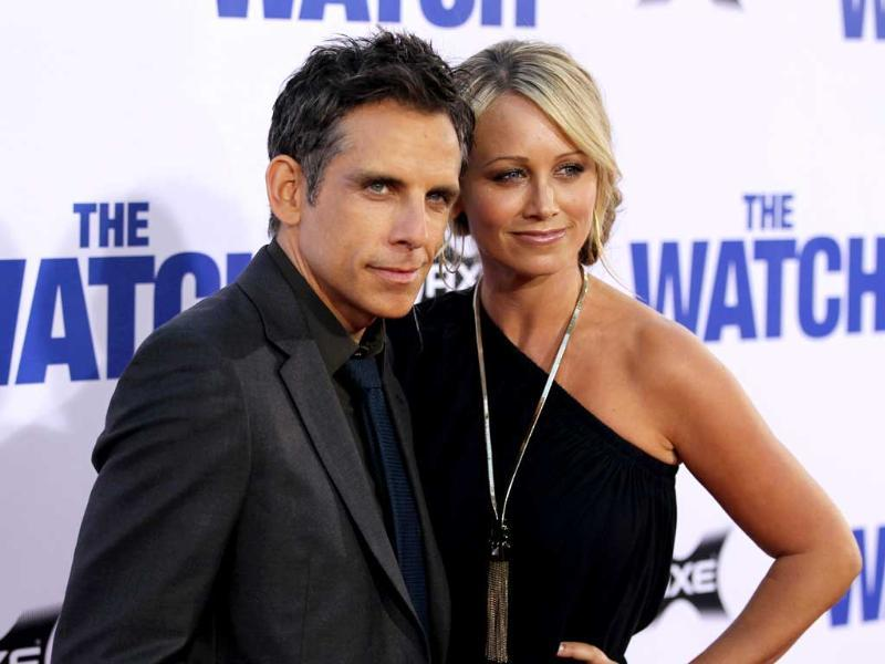 Cast member Ben Stiller, left, and Christine Taylor attend the premiere of The Watch at Grauman's Chinese Theatre in Los Angeles. AP/Matt Sayles